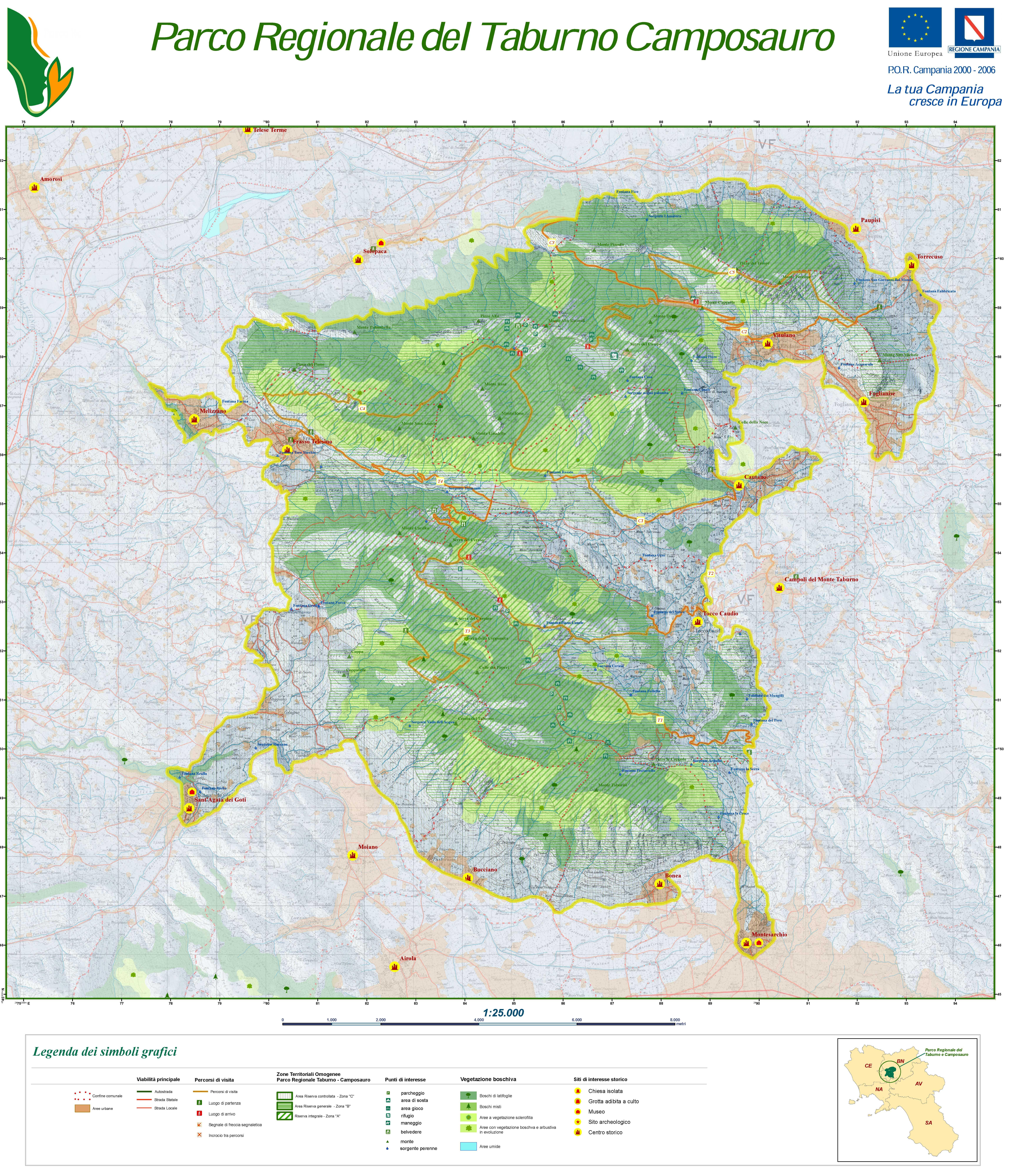 Cilento Region Italy Map.Useful Links Hiking Campania